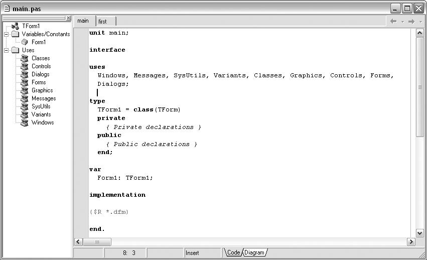 Окно редактора кода с проводником и загруженным файлом новой формы