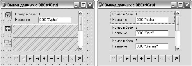 Компонент DBCtrlGrid во время разработки в Delphi IDE и во время выполнения