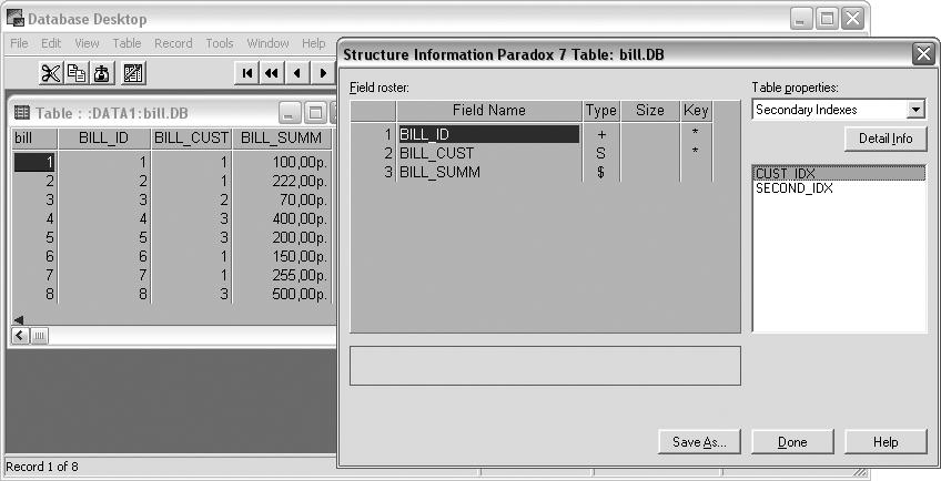 Структура и содержимое таблицы счетов Bill
